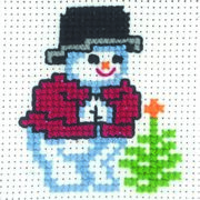Snowman and Tree - Permin Cross Stitch Kit