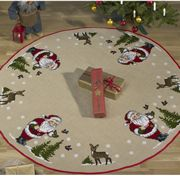 Permin Santa and Reindeer Tree Skirt Cross Stitch Kit