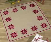 Permin Red Star Tree Skirt Cross Stitch Kit