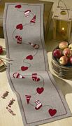 Permin Stocking and Hearts Runner Christmas Cross Stitch Kit
