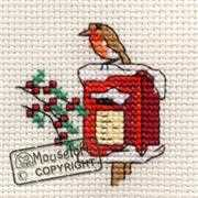 Mouseloft Robin on Postbox Christmas Card Making Cross Stitch Kit