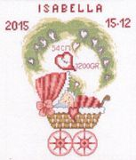 Girl Pram Birth Sampler - Permin Cross Stitch Kit