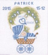 Boy Pram Birth Sampler - Permin Cross Stitch Kit