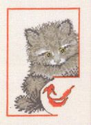 Mischievous Pussycat 1 - Permin Cross Stitch Kit