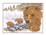 Brown Bear - Linen - Permin Cross Stitch Kit