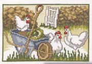 Wheelbarrow Chickens - Permin Cross Stitch Kit