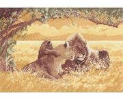 Lions - Evenweave - Heritage Cross Stitch Kit