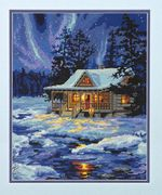 Winter Sky Cabin - Dimensions Tapestry Kit