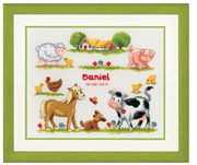 Vervaco Farmyard Animals Sampler Birth Sampler Cross Stitch Kit