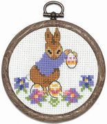 Rabbit Collecting Eggs - Permin Cross Stitch Kit