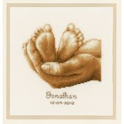 Vervaco Tiny Feet Birth Sampler Cross Stitch Kit