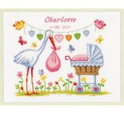 Vervaco Stork and Pram Birth Sampler Cross Stitch Kit