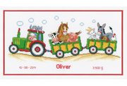 Vervaco Tractor and Trailer Birth Sampler Cross Stitch Kit
