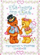 Design Works Crafts Two Hearts Wedding Sampler Cross Stitch Kit