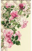 RIOLIS Pink Roses on Lattice Cross Stitch Kit