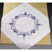 Blue Rose Circle Tablecloth - Permin Cross Stitch Kit