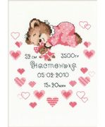 RIOLIS Girl Birth Announcement Birth Sampler Cross Stitch Kit