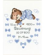 RIOLIS Boy Birth Announcement Birth Sampler Cross Stitch Kit