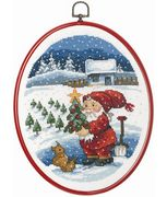 Permin Santa and Tree Christmas Cross Stitch Kit