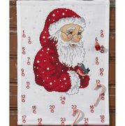 Permin Father Christmas and Bird Advent Cross Stitch Kit