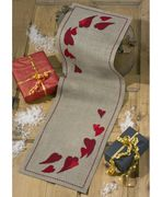 Permin Hearts Runner Christmas Cross Stitch Kit