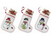 Snowman Tree Stockings - Permin Cross Stitch Kit