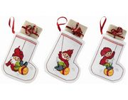 Bauble Elves Tree Stockings - Permin Cross Stitch Kit