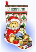 Teddy Santa Stocking - Design Works Crafts Cross Stitch Kit