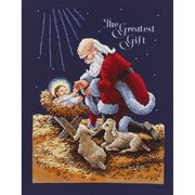 Janlynn Kneeling Santa Cross Stitch Kit