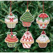 Christmas Cupcake Ornaments - Janlynn Cross Stitch Kit