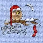 Mouseloft Christmas Eve Owl Christmas Card Making Cross Stitch Kit