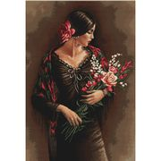 Luca-S Spanish Lady with Bouquet Cross Stitch Kit