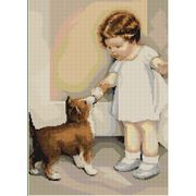 Girl With Dog - Luca-S Cross Stitch Kit