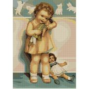 Luca-S Girl with Doll Cross Stitch Kit