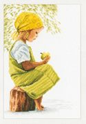Lanarte Girl with Apple - Aida Cross Stitch Kit