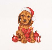 Thea Gouverneur Christmas Puppy Cross Stitch Kit