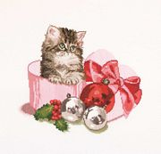 Christmas Kitten - Thea Gouverneur Cross Stitch Kit