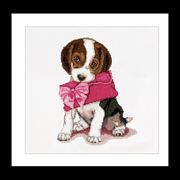 Puppy with Pink Purse - Thea Gouverneur Cross Stitch Kit