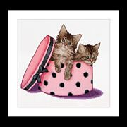 Kittens in a Hat Box - Thea Gouverneur Cross Stitch Kit