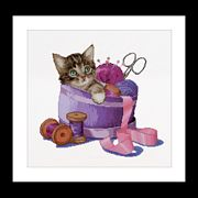 Kitten in a Sewing Basket - Thea Gouverneur Cross Stitch Kit