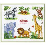 Vervaco Zoo Animals Birth Record Birth Sampler Cross Stitch Kit