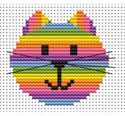 Sew Simple Cat Head - Fat Cat Cross Stitch Kit