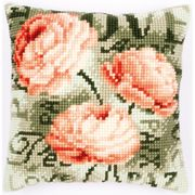 Vervaco Peach Peony Cushion Cross Stitch Kit