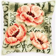 Vervaco Peach Poppy Cushion Cross Stitch Kit