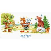 Vervaco Animal Fun Birth Record Birth Sampler Cross Stitch Kit