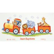 Vervaco Animal Train Birth Record Birth Sampler Cross Stitch Kit