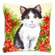 Vervaco Black and White Cat Cushion Cross Stitch Kit