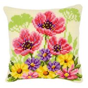 Poppies and Violets Cushion - Vervaco Cross Stitch Kit