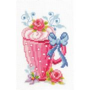 Vervaco Pink Latte Cup Cross Stitch Kit