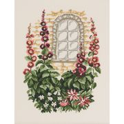 Hollyhock Window - Permin Cross Stitch Kit